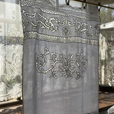 C1008 フランスアンティークリネンスモールカーテン カーテンリング付カットワーク手刺繍リネン&ボビンレースカーテン 53x88cm