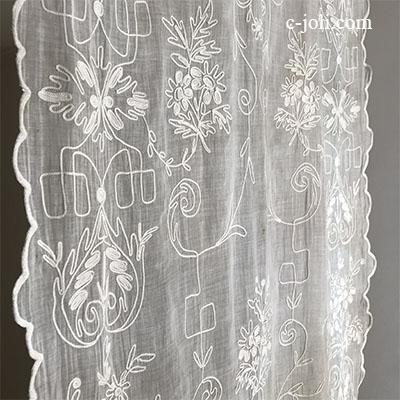 【パリ発送】C1075 フランスアンティークコーネリー刺繍カーテン 麻ローン刺繍カーテン 1m90