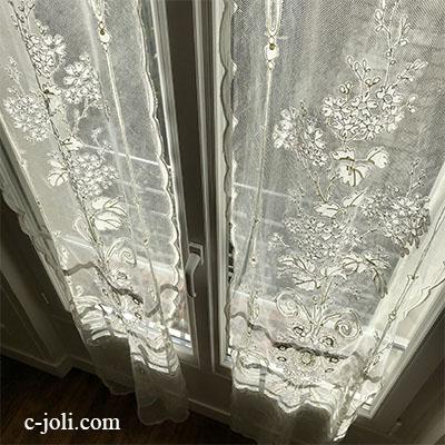 【パリ発送】C1102 フランスアンティークレースカーテン/コーネリーカーテン 19世紀コーネリー刺繍&コットンネットレース2枚  55x228cm