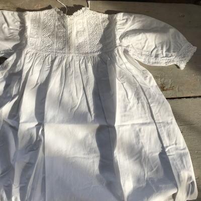 E-519 イギリスアンティークベビードレス 手刺繍コットン洗礼用ドレス 91cm