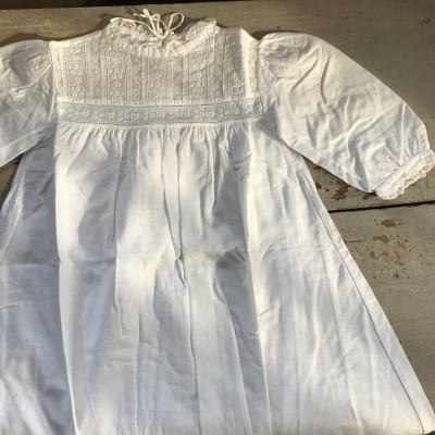 E-521 イギリスアンティークベビードレス レース&マシーン刺繍コットン洗礼用ドレス 81cm