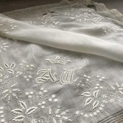 E-915 フランスアンティークレースハンカチ 19世紀ホワイトワーク手刺繍モノグラム麻ローン&ボビンレースハンカチ 45x45cm