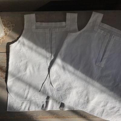 E-939 フランスアンティークベビーシャツ/ドール/ベビー服 2枚 貝ボタン&コットンシャツ