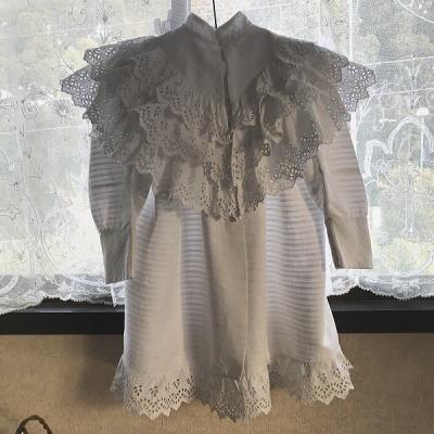 E-942 フランスアンティークベビーコート/ベビーケープ/ベビー服 カットワーク手刺繍&コットンピケ 58cm
