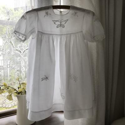 E-973 フランスアンティークベビードレス/ドールドレス 手刺繍コットンローン&ボビンレース 52cm