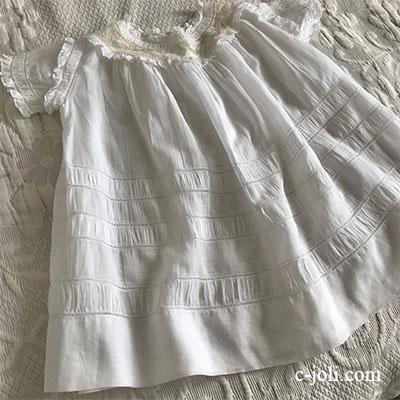 【パリ発送】E1006 フランスアンティークベビードレス/ドールドレス ハンドワーク綿ローン  44cm