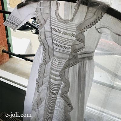 【パリ発送】E1007 フランスアンティーク洗礼式用ベビードレス/お宮参り/ドールドレス 手刺繍コットンローン  119cm