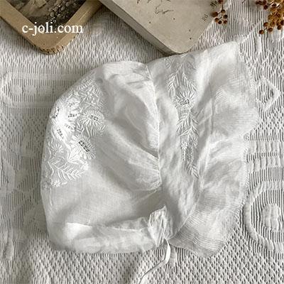 【パリ発送】E1021 フランスアンティークベビーハット/ベビー帽子/ベビーボネ ホワイトワーク手刺繍&綿ローン