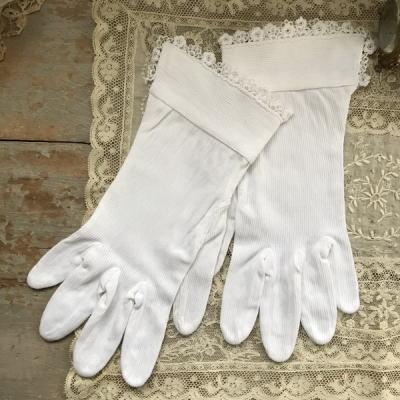 F-078 フランスアンティークコットン手袋 コットン&ケミカルレース手袋 ホワイト