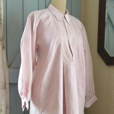 G-195 19世紀フランスアンティークリネン服/リネンワンピース リネンワークシャツ/ナイトシャツ 101cm ピンク