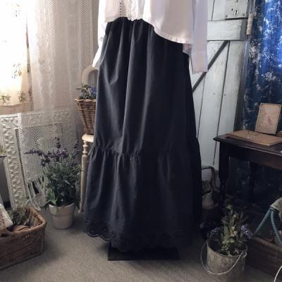 G-287 フランスアンティークスカート/ペチコート カットワーク手刺繍リネンスカート 94cm インディゴ染/藍染