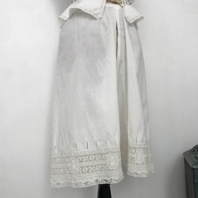 G-293 フランスアンティークドロワーズ/ペチパンツ ヴァランシエンヌレース&手刺繍コットンドロワーズ 63cm