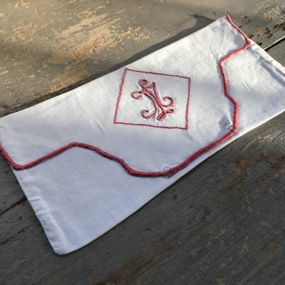 L-030 フレンチアンティーク手刺繍リネン ナフキンケース