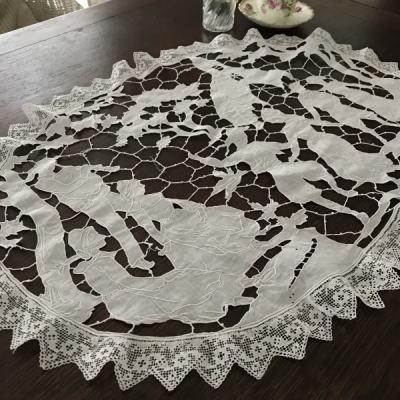 L2407 フランスアンティークレースクロス/テーブルマット カットワーク手刺繍リネン&フィレレース 68x51cm