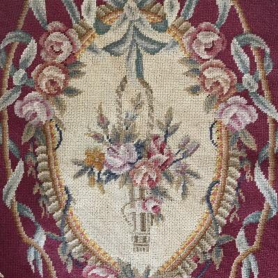 L2421 フランスアンティーク刺繍クロス ローズ柄ミディポワン/プチポワン手刺繍クロス 34x42cm