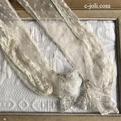 【パリ発送】L2530 フランスアンティークレースパーツ/スリーブ2枚 19世紀アプリカシオンリネンチュールレース