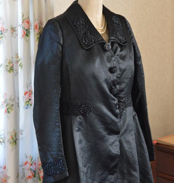 B1172 フランスアンティークジャケット ブラックシルク絹ジャケット