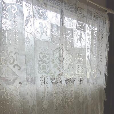 B1352 フランスアンティークレースベッドスプレッド/ベッドカバー 天使柄カットワーク手刺繍リネン&フィレレース