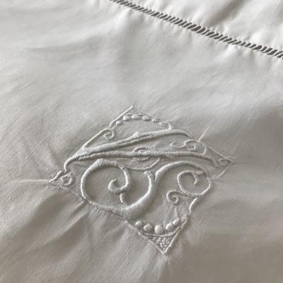 B1478 フランスアンティークリネンピローケース/クッションケース 手刺繍モノグラムリネン 77x76cm