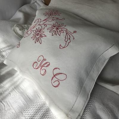 B1482 フランスアンティークリネンランジェリーケース/パジャマケース 手刺繍リネン 44.5x35cm