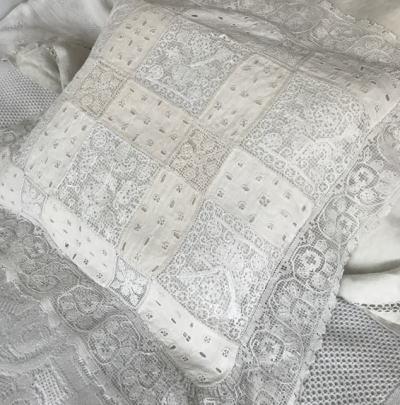 B1499 フランスアンティークピローケース/クッションケース 手刺繍リネン&リネン糸フィレレース 61x53cm
