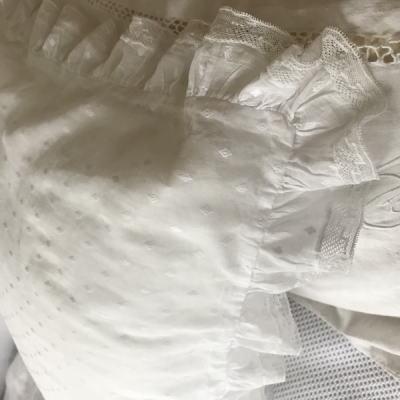 B1500 フランスアンティークピローケース/クッションケース 手刺繍コットンガーゼ 79x83cm
