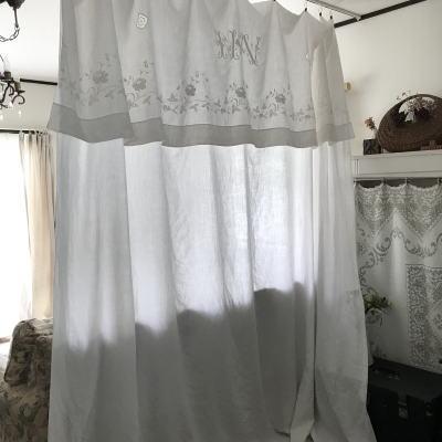B1514 フランスアンティークリネンシーツ/ベッドシーツ/カーテン ホワイトワークリネン手刺繍モノグラム 245x312cm