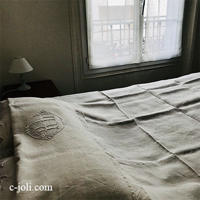 【パリ発送】B1559 フランスアンティークリネンシーツ/ベッドシーツ 手刺繍モノグラムリネンクロス 210x225cm