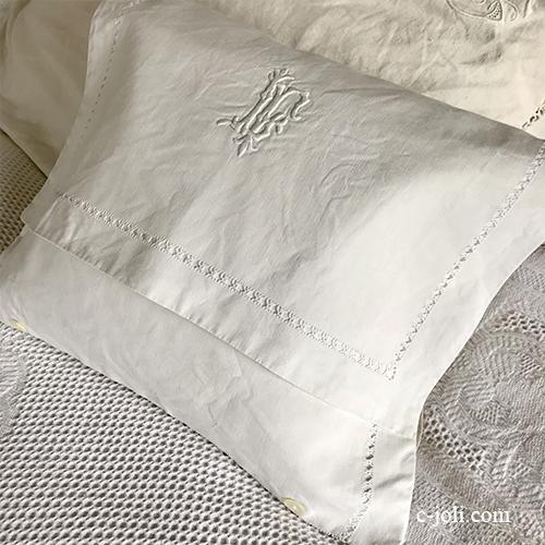 B1579 フランスアンティークリネンランジェリーケース/ナイトドレスケース 手刺繍モノグラム&ハーフリネン 37x27cm