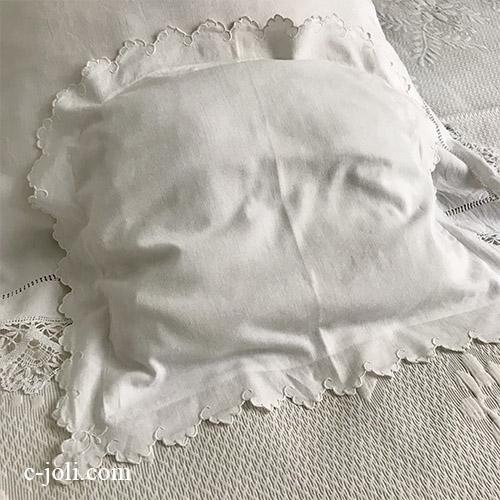 【パリ発送】B1594 フランスアンティークコットンベビーピローケース/ミニクッションケース 手刺繍コットン 50x42.5cm