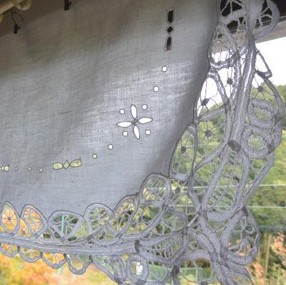 C-837 フランスアンティークリネンカーテン/カフェカーテン カットワーク手刺繍リネン&バテンレースカーテン 1m25