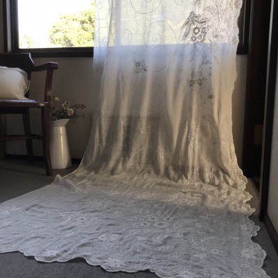 C-982 フランスアンティークローン手刺繍カーテン 2m92 19世紀コーネリー刺繍綿ローンカーテン