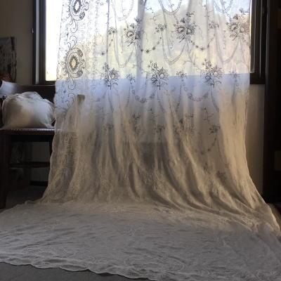 C-984 フランスアンティークローン手刺繍カーテン 2m81 19世紀コーネリー刺繍綿ローンカーテン