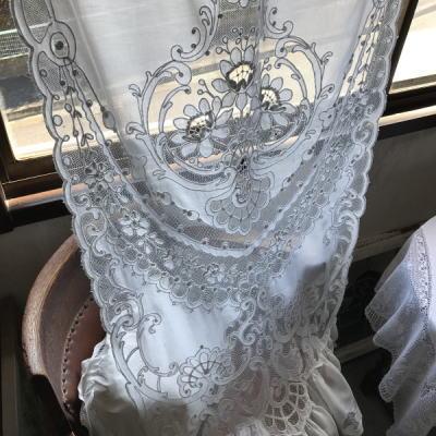 C1000 フランスアンティークレースカーテン タンブール刺繍/タンバー刺繍コットン&ネットレースカーテン 1m53