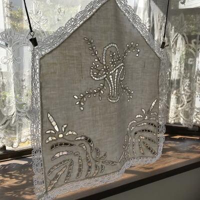 C1004 フランスアンティークリネンスモールカーテン カットワーク手刺繍リネン&ボビンレースカーテン 42x49cm