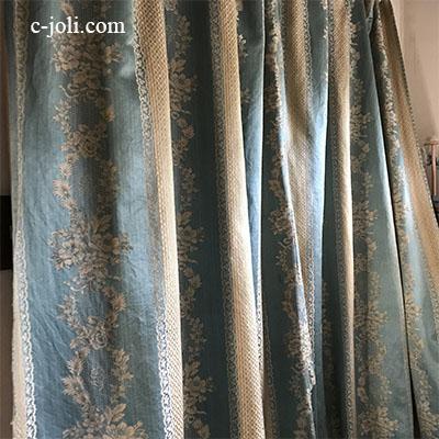 C1056 フランスアンティークカーテン/シルクカーテン ローズ柄シルクカーテン 227x214cm