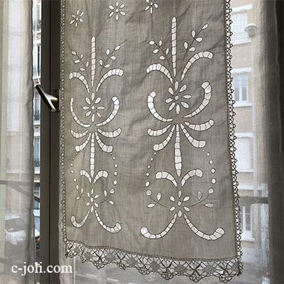 【パリ発送】C1062 フランスアンティークレース&刺繍カーテン/スモールカーテン2枚 カットワーク手刺繍コットン&ボビンレース 96cm