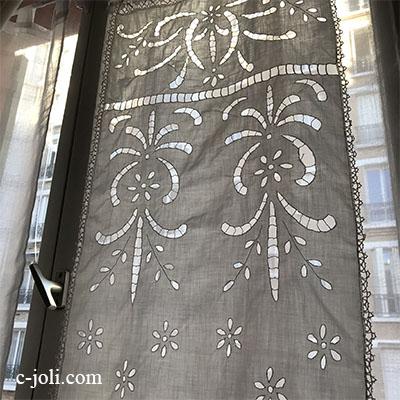 【パリ発送】C1063 フランスアンティークレース&刺繍カーテン/スモールカーテン リング付きカットワーク手刺繍コットン&ボビンレース 86cm
