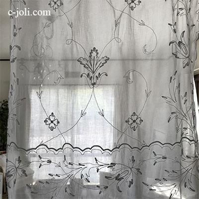 C1078 フランスアンティークコーネリー刺繍カーテン 麻ローン刺繍カーテン 2m40