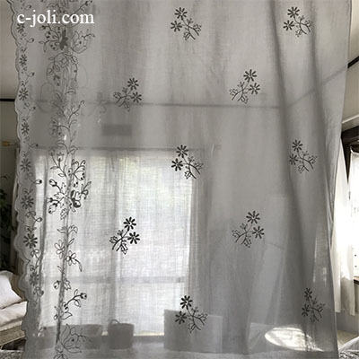 C1079 フランスアンティークコーネリー刺繍カーテン 綿ローン刺繍カーテン 2m67