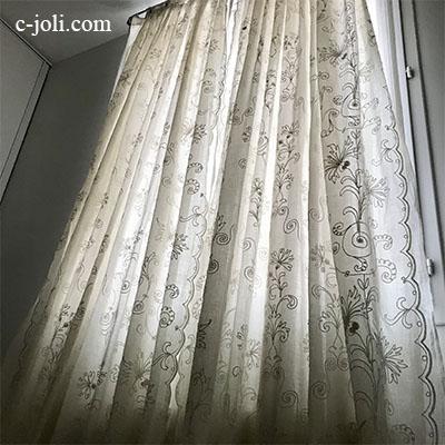 【パリ発送】C1107 フランスアンティークコーネリー刺繍カーテン2枚 綿ローン刺繍カーテン 3m12