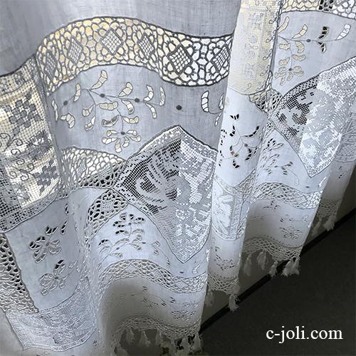 C1113 フランスアンティークリネンカーテン カットワーク手刺繍リネン&フィレレース&クロシェレースカーテン 1m40
