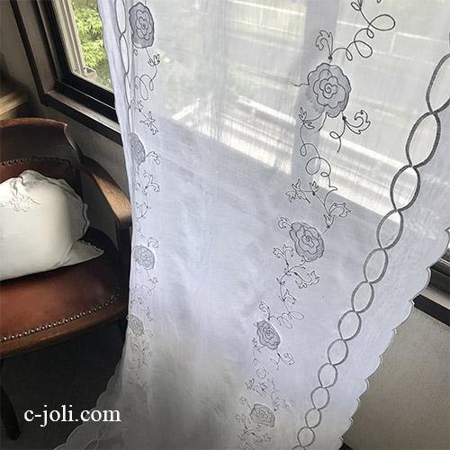 C1127 フランスアンティークコーネリー風リネンローンカーテン 麻ローン刺繍カーテン 2m45