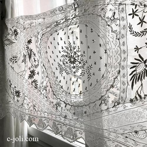 【パリ発送】C1131 フランスアンティークノルマンディーレースカーテン ホワイトワーク手刺繍リネンローン&リネンチュールレース 163x47cm