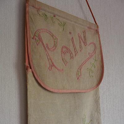 E-564 フランスアンティークリネンサック/バゲット袋 手刺繍リネンフランスパンサック