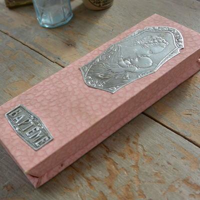 E-696 フランスアンティークボックス バテムの菓子箱 ピンク