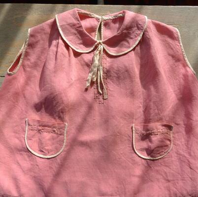 E-697 フランスアンティークベビードレス/チャイルドワンピース 手刺繍リネン 55cm