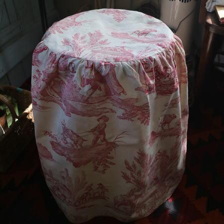 E-772 フランスアンティークトワルドジュイスツールカバー 1900年頃Toile de Jouyリネン椅子カバー