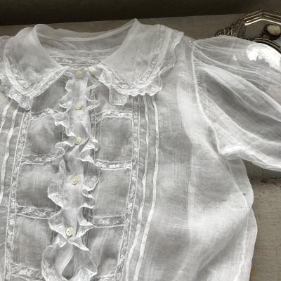 E-846 フランスアンティークチャイルドブラウス/ドール/ベビー服 19世紀ブラウス 綿ローン&レース 47cm