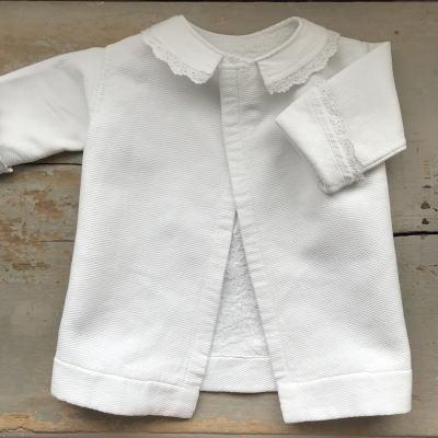 E-873 フランスアンティークベビー服/ドール服 手刺繍&コットンピケベビージャケット 39cm